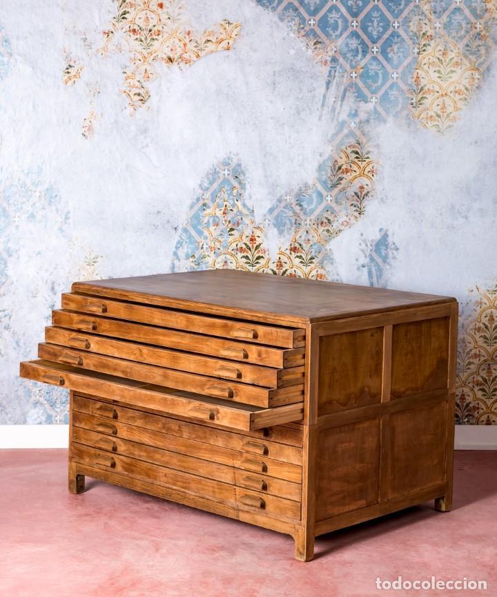 Antigüedades: Mueble Industrial Planero 1943 - Foto 3 - 245578970