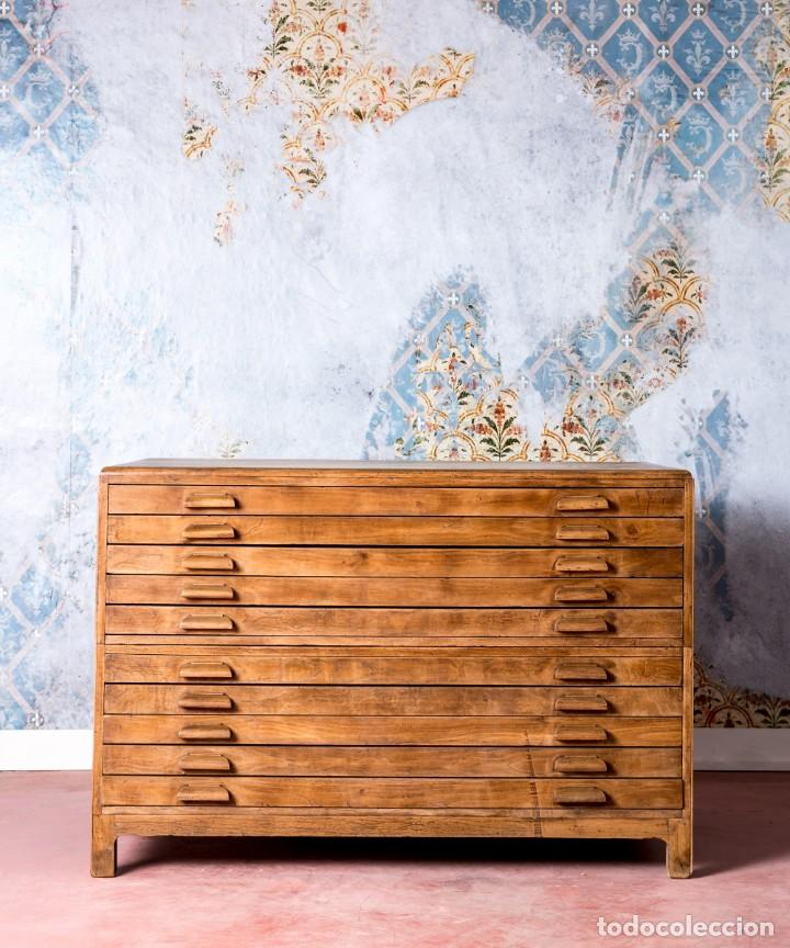 Antigüedades: Mueble Industrial Planero 1943 - Foto 6 - 245578970