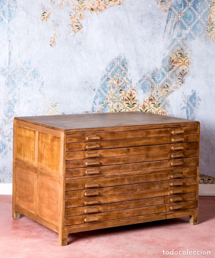 Antigüedades: Mueble Industrial Planero 1943 - Foto 7 - 245578970