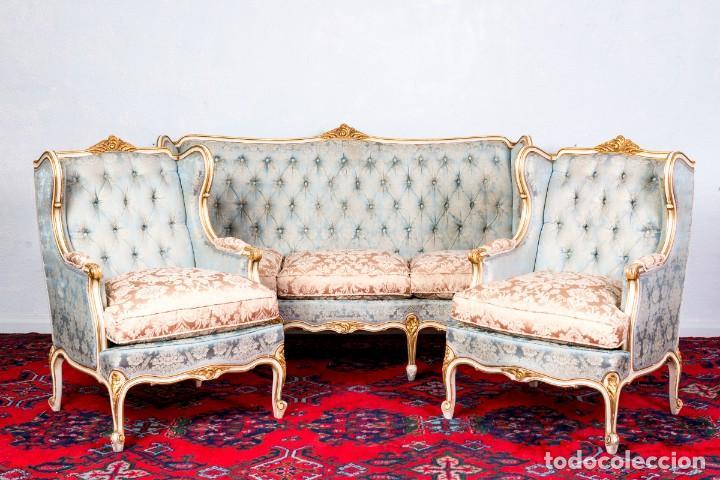 Antigüedades: Conjunto De Sofá y Sillones Antiguos Luis XV - Foto 2 - 245607945