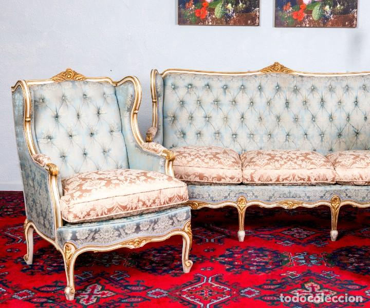 Antigüedades: Conjunto De Sofá y Sillones Antiguos Luis XV - Foto 8 - 245607945