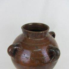 Antigüedades: ORZA DE TRES ASAS EN BARRO ESMALTADO DE PROBABLEMENTE HUESCA - SIGLO XIX. Lote 245656870