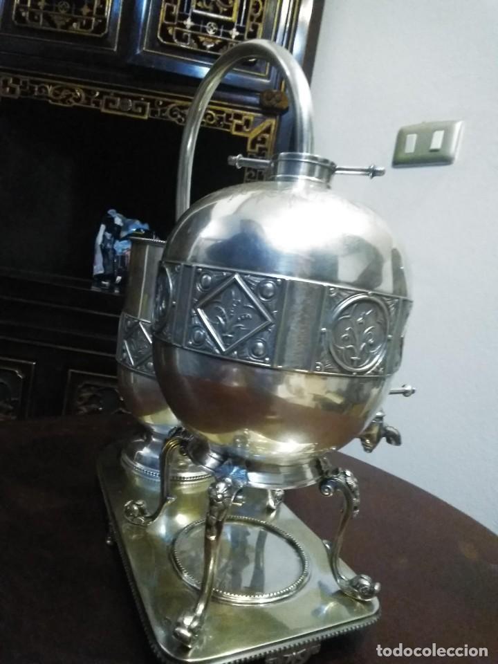 Antigüedades: Antiguo samovar - tetera plateada 5 punzones de origen ingles. S XIX - Foto 9 - 245720970