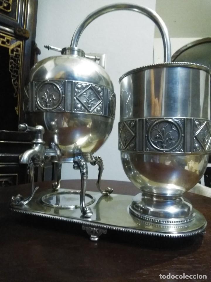 Antigüedades: Antiguo samovar - tetera plateada 5 punzones de origen ingles. S XIX - Foto 32 - 245720970