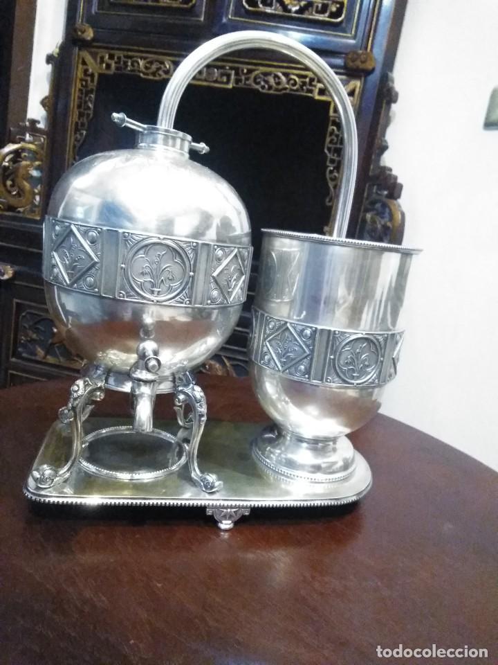 Antigüedades: Antiguo samovar - tetera plateada 5 punzones de origen ingles. S XIX - Foto 3 - 245720970