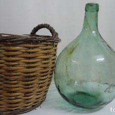 Antigüedades: ANTIGUA DAMAJUANA CRISTAL 8L CON CESTA DE MIMBRE. Lote 245731220