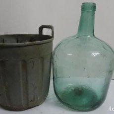 Antigüedades: ANTIGUA DAMAJUANA CRISTAL 5L VIRESA FUNDA DE PLASTICO. Lote 245731385