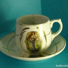 Antigüedades: PLATO Y TAZA DE CAFÉ. DECORACIÓN NINFAS EN LA NATURALEZA. SELLO VERDE PICKMAN,CARTUJA SEVILLA. Lote 245736045