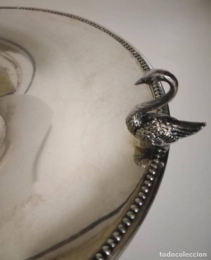 Antigüedades: Frutero de alpaca decorado con cisnes - Foto 6 - 245755780