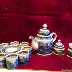 Antigüedades: ELEGANTE JUEGO DE CAFÉ BLUE CASTLE VILLEROY & BOCH. 9 TAZAS Y PLATOS, CAFETERA, LECHERA Y AZUCARERO.. Lote 245759200