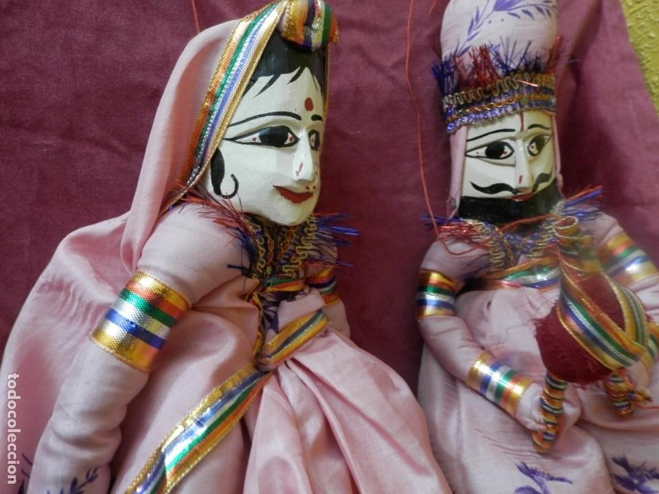 PAJERA DE MARIONETAS DE LA INDIA RAJASTHAN KATHPUTLI DE MADERA POLICROMADA. MARIONETA MUÑECO COLGAR. (Antigüedades - Hogar y Decoración - Figuras Antiguas)