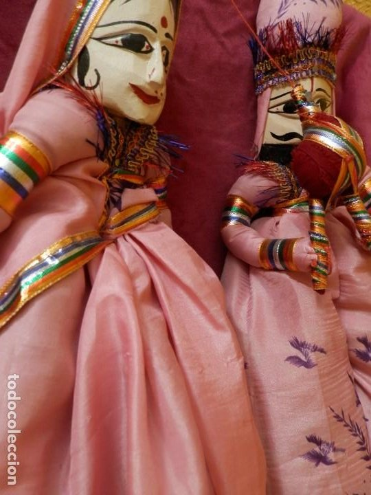 Antigüedades: PAJERA DE MARIONETAS DE LA INDIA RAJASTHAN KATHPUTLI DE MADERA POLICROMADA. MARIONETA MUÑECO COLGAR. - Foto 12 - 245762420