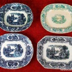 Antigüedades: 4 BANDEJAS DE LA CARTUJA - PICKMAN. LOZA ESMALTADA. ESPAÑA. SIGLO XIX-XX. Lote 245788385
