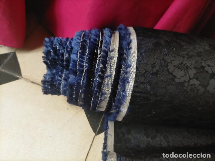 Antigüedades: 5 METROS X 125 ANCHO BROCADO MINI AZUL NOCHE FLORAL IDEAL VIRGEN SEMANA SANTA DIFUNTOS CONFECCIONES - Foto 8 - 245889745