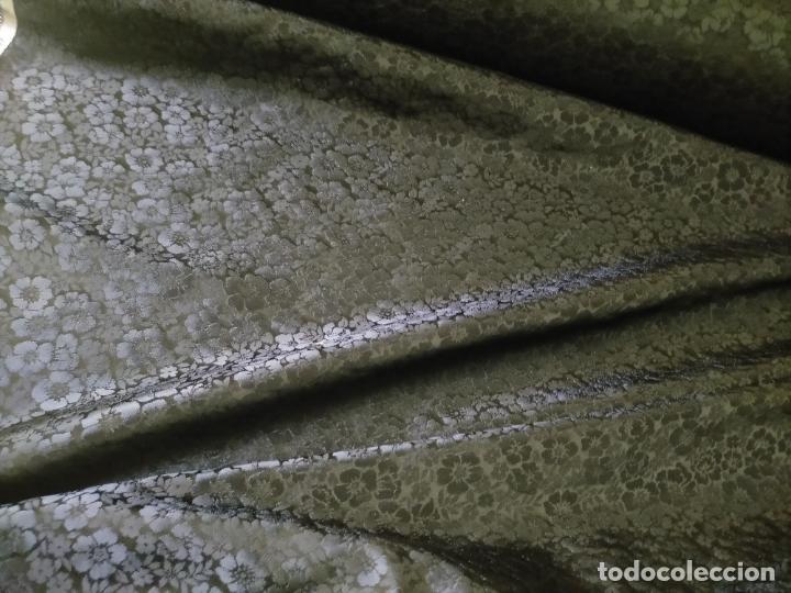 Antigüedades: 5 METROS X 125 ANCHO BROCADO MINI AZUL NOCHE FLORAL IDEAL VIRGEN SEMANA SANTA DIFUNTOS CONFECCIONES - Foto 20 - 245889745