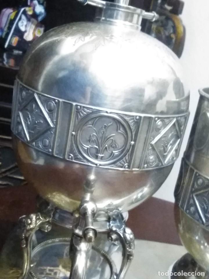 Antigüedades: Antiguo samovar - tetera plateada 5 punzones de origen ingles. S XIX - Foto 7 - 245720970