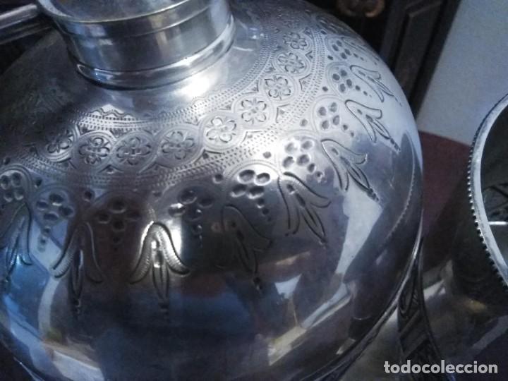 Antigüedades: Antiguo samovar - tetera plateada 5 punzones de origen ingles. S XIX - Foto 11 - 245720970