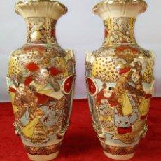 Antigüedades: PAREJA DE JARRONES ESTILO SATSUMA. PORCELANA ESMALTADA. JAPÓN. SIGLO XIX. Lote 245925185