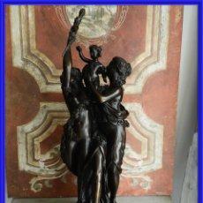 Antigüedades: FIGURA DE BRONCE GRANDE SOBRE BASE DE MARMOL. Lote 245935595