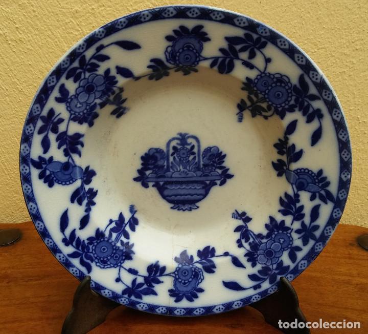 ANTIGUO PLATO DE PORCELANA DE SAN JUAN, AZUL SERIE INDIA, MIDE 24 CM DIÁMETRO. (Antigüedades - Porcelanas y Cerámicas - San Juan de Aznalfarache)