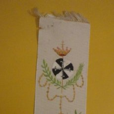 Antigüedades: ANTIGUA BANDA DE SEDA PINTADA A MANO.RELIGION. 1947. Lote 246016675