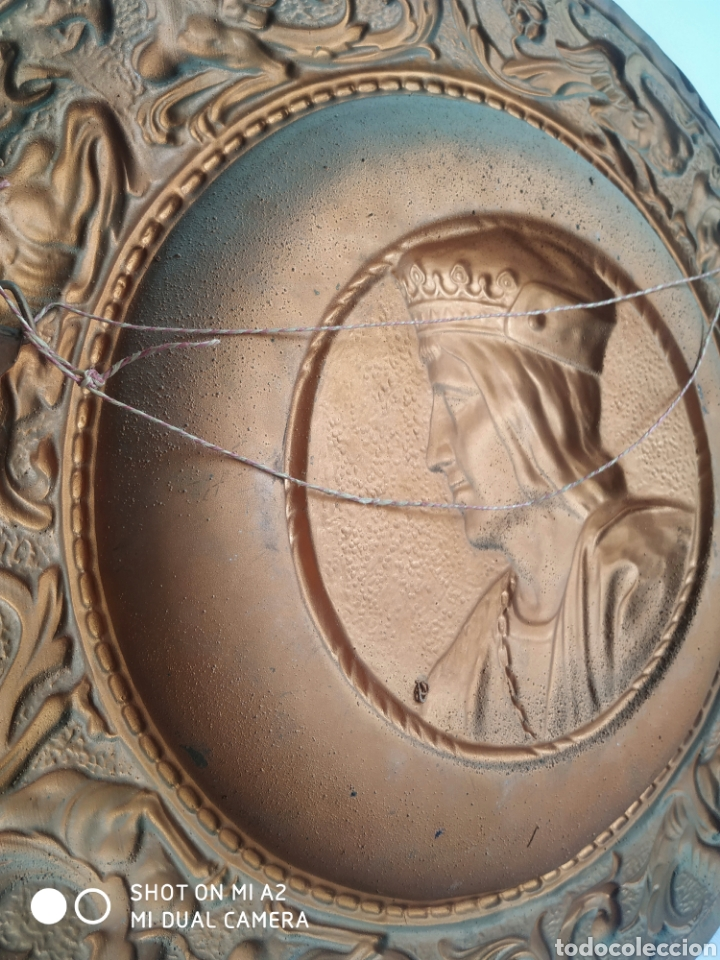 Antigüedades: Pareja de platos de cobre de los reyes catolicos - Foto 5 - 246084745