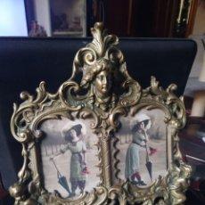 Antigüedades: MARCO DOBLE DE BRONCE S XIX. Lote 246108625