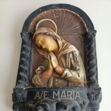 Antigüedades: RELIEVE EN ESTUCO POLICROMADO. AVE MARÍA. J. PAJELLÁ - TOGNERI. N° 189. Lote 246120650