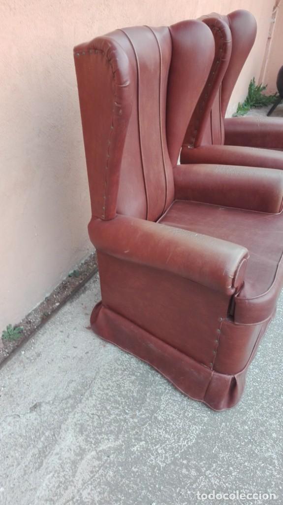 Antigüedades: Pareja de sillones de polipiel década de los 50 más o menos - Foto 2 - 246131815