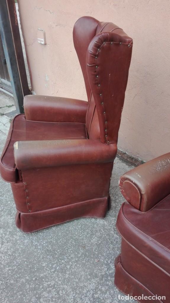 Antigüedades: Pareja de sillones de polipiel década de los 50 más o menos - Foto 4 - 246131815