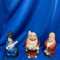 Antigüedades: 3 FIGURAS DE PORCELANA CHINA, POLICROMADAS .. Lote 246135430
