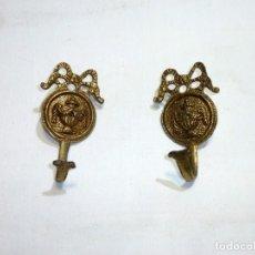 Antigüedades: PAREJA DE ALZAPAÑOS PARA CORTINA.11 X 6 CM.APROX.. Lote 246136980