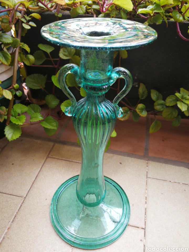 ANTIGUO CANDELABRO CANDELERO CRISTAL SOPLADO GORDIOLA (CRISTAL MALLORQUÍN), 27CM. (Antigüedades - Cristal y Vidrio - Mallorquín)