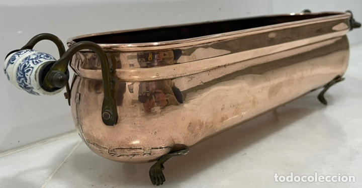 Antigüedades: ANTIGUA JARDINERA FRANCESA COBRE PORCELANA SIGLO XIX - Foto 3 - 246335875