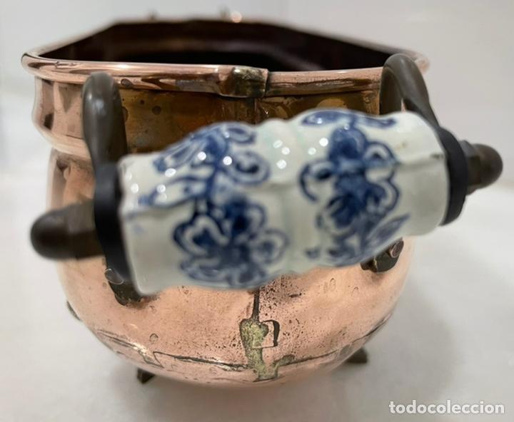 Antigüedades: ANTIGUA JARDINERA FRANCESA COBRE PORCELANA SIGLO XIX - Foto 8 - 246335875