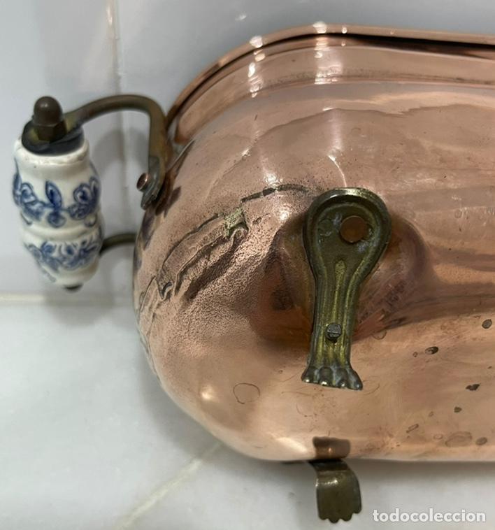Antigüedades: ANTIGUA JARDINERA FRANCESA COBRE PORCELANA SIGLO XIX - Foto 12 - 246335875