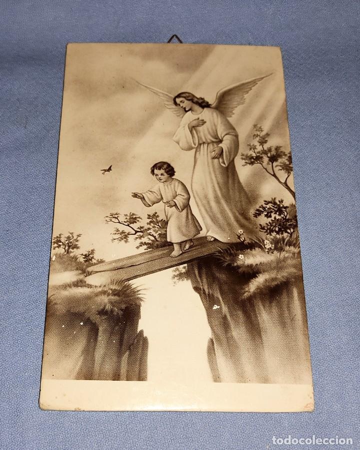 ANTIGUA IMAGEN ANGEL DE LA GUARDA ARTES FOTOGRAFICAS ARAGON DE MADRID AÑOS 30 ORIGINAL (Antigüedades - Religiosas - Varios)