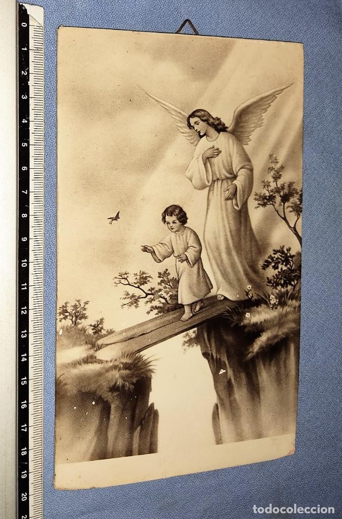 Antigüedades: ANTIGUA IMAGEN ANGEL DE LA GUARDA ARTES FOTOGRAFICAS ARAGON DE MADRID AÑOS 30 ORIGINAL - Foto 3 - 246469250
