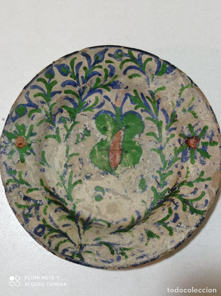 TERUEL ANTIGUO PLATO PEQUEÑO CERÁMICA VIDRIADA PINTADO A MANO (Antigüedades - Porcelanas y Cerámicas - Teruel)