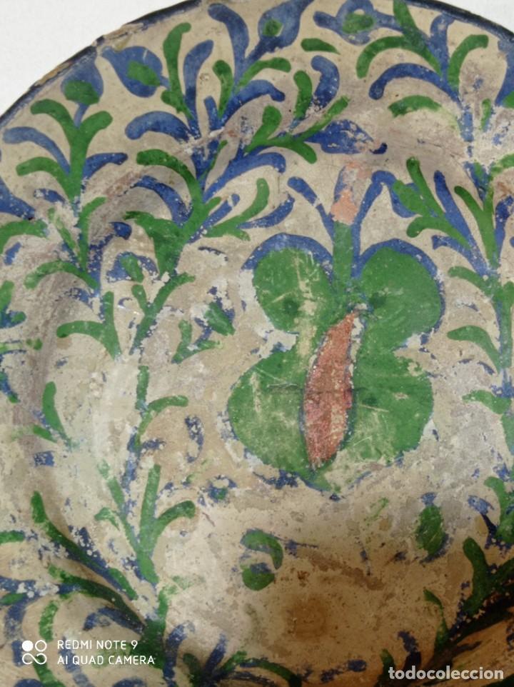 Antigüedades: Teruel Antiguo plato pequeño cerámica vidriada pintado a mano - Foto 2 - 246574030