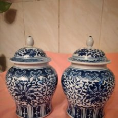 Antigüedades: LOTE DE 2 TIBORES CON TAPA DE PORCELANA CHINA, COBALTO Y BLANCO.. Lote 246624680