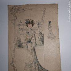 Antigüedades: DIBUJO S.XIX VESTIDO LARGO. MODA MUJER. LIBRERÍA RONQUILLA, ATTELIER RACHNVITZ. Lote 246631010