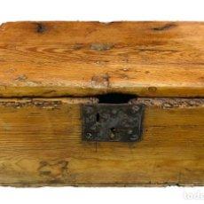 Antigüedades: ANTIGUO LIMOSNERO, HUCHA DE IGLESIA, CAJA PETITORIA, ARQUETA, BAÚL. SIGLO XVII, RESTAURADA. 40X22X20. Lote 246669875