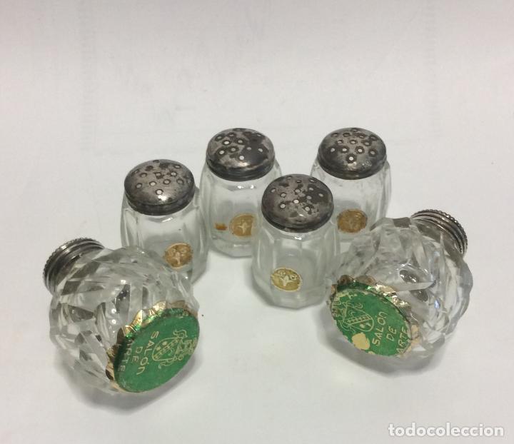 Antigüedades: Conjunto de Saleros antiguos ,de colección; de Plata y cristal Tallado - Foto 2 - 246683605