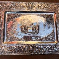 Antigüedades: BANDEJA BAÑO PLATA ESPAÑOLA SIGLO XIX CARLOS V MONASTERIO YUSTE. Lote 246685460