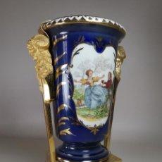 Antigüedades: JARRON ESTILO IMPERIO ESPAÑOL FIRMADO WATEAU -TIPO SEVRES----REF-MO. Lote 246729900