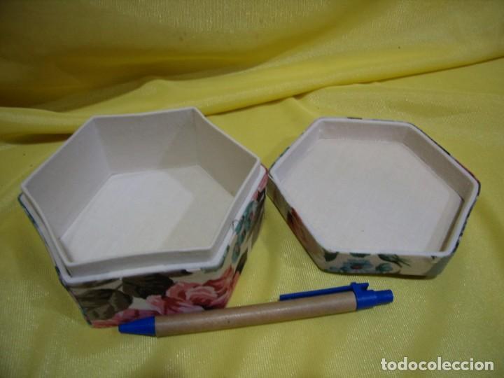 Antigüedades: Caja joyero cartón forrado tela por dentro y por fuera, años 80, Nuevo sin usar. - Foto 3 - 246739435