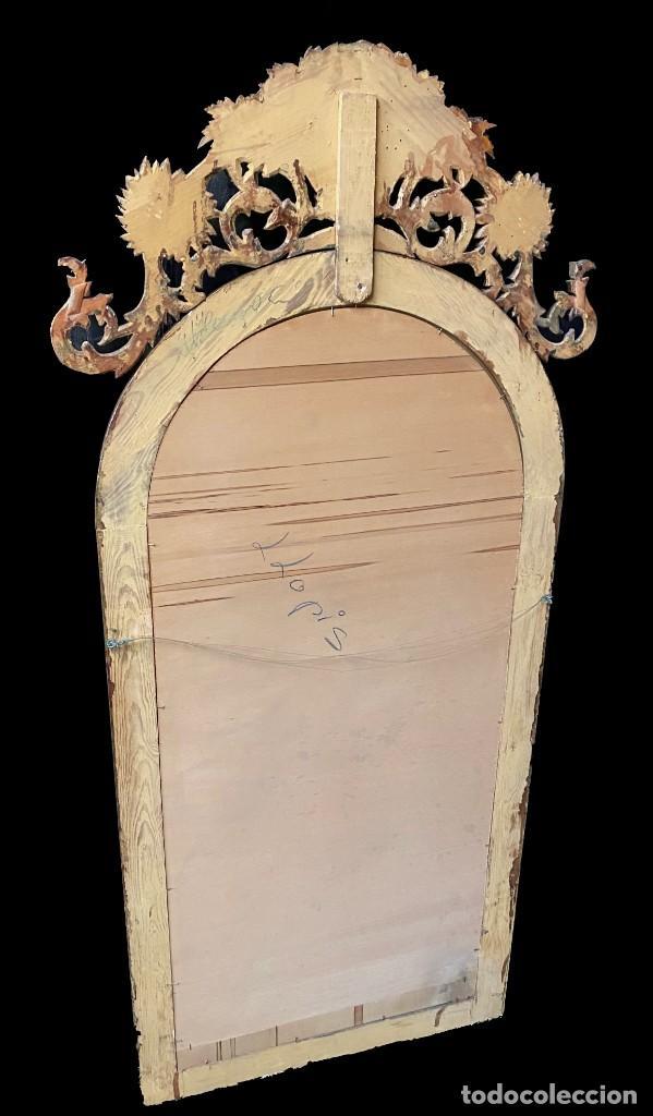 Antigüedades: Antiguo espejo dorado de madera tallada con copete. 165x70 - Foto 2 - 246780780