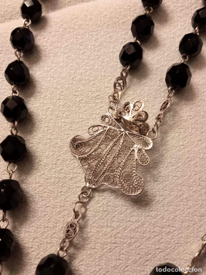 Antigüedades: Rosario cristal negro y filigrana de plata cordobesa, siglo XIX. Estilo Isabelino - Foto 4 - 246789200