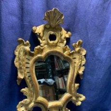 Antiquités: PEQUEÑO ESPEJO CORNUCOPIA S XVIII COPETE MADERA TALLADA DORADA 55X34CMS. Lote 246824580